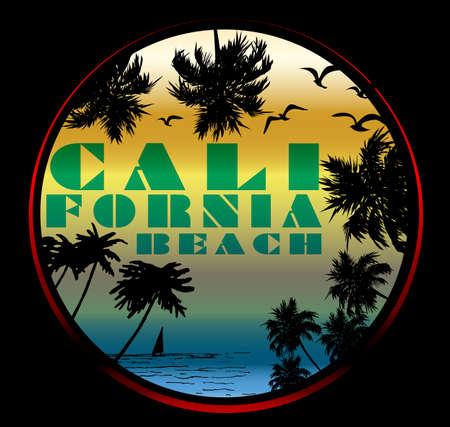 California Typography, t-shirt graphics, poster, banner, flyer; print, postcard Illustration