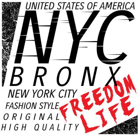New York City; Bronx Grunge background. Typography; t-shirt graphics; poster