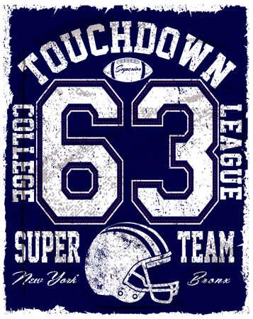 American football vector vintage print for sportswear in custom size