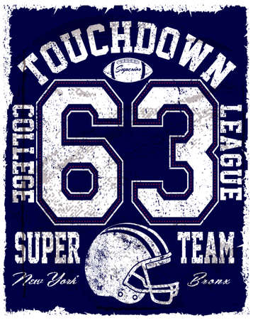 American football vector vintage print for sportswear in custom size
