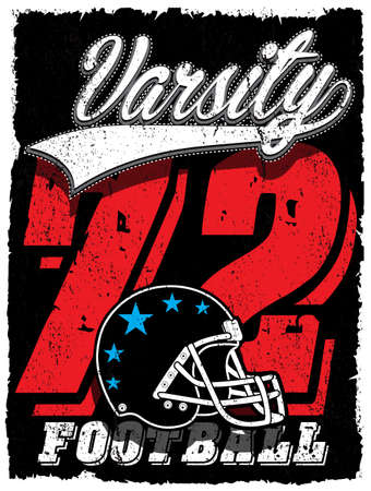 アメリカン フットボール ベクトル ヴィンテージ印刷カスタム サイズのスポーツウェア  イラスト・ベクター素材