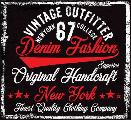 Typography vintage Denim brand logo print for t-shirt. Retro artwork vector illustration Ilustração