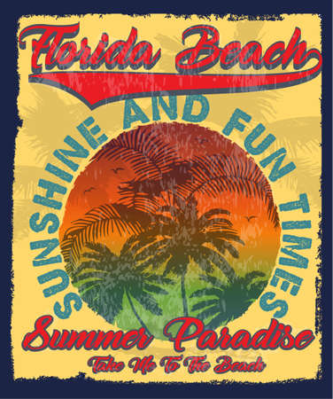 Florida summer tee graphic design Ilustracja