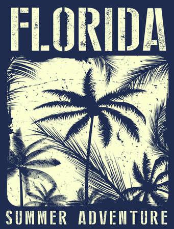 Florida summer tee graphic design Vectores