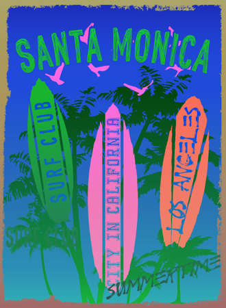 Vector illustration on the theme of surf and surf club in Santa Monica in Los Angeles Grunge background. Vintage design. Typography, t-shirt graphics, print, poster, banner, flyer, postcard