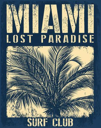 Tipografía playa de Miami con la ilustración florales para la impresión de la camiseta, ilustración vectorial. Foto de archivo - 73039132