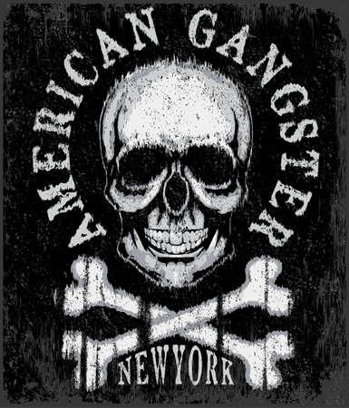 Skull T shirt Graphic Design Ilustração