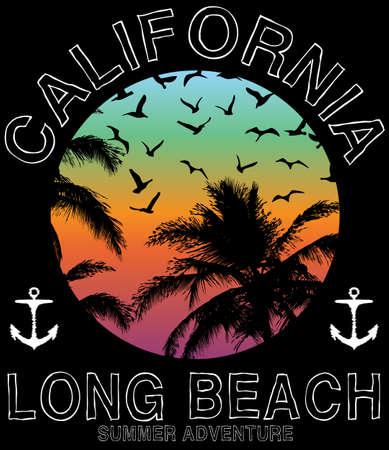 Summer beach vector in retro style