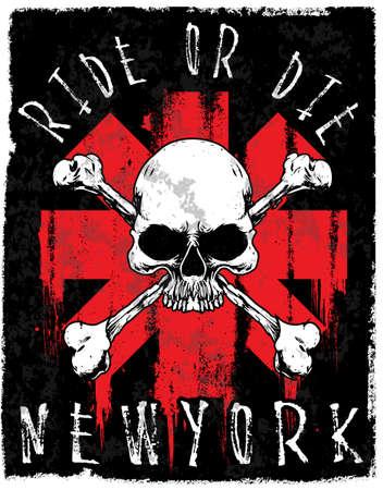 Skull T shirt graphic design. Illustration