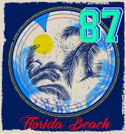 Summer beach vector background in retro style Ilustrace