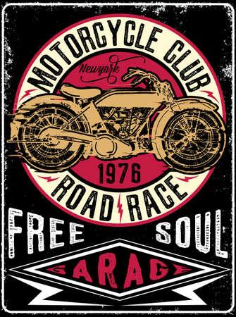 Vintage Motorcycle hand drawn vector tee graphic design Ilustração