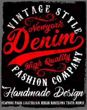 タイポグラフィ ビンテージ デニム ブランドのロゴを t シャツに印刷します。レトロなアートワークのベクトル図