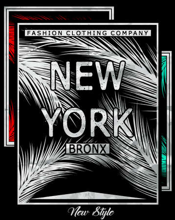 New york Bronx typography with floral illustration. T shirt graphic . Vectors Illustration