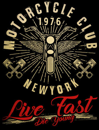 Motorcycle typography, vintage motor, t-shirt graphics, vectors