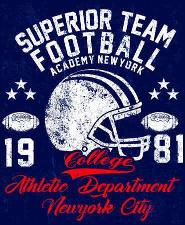大学ベクトル ラベル、t シャツのプリント デザイン。アメリカン フットボール グラフィック  イラスト・ベクター素材