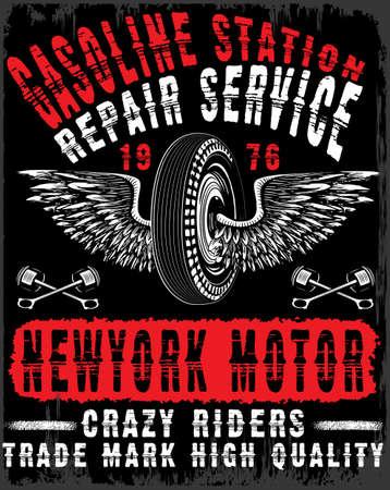 Motorcycle tee graphic design Illustration