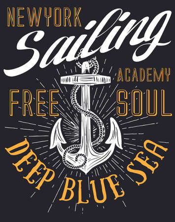 Anchor sailing academy T-shirt design vector