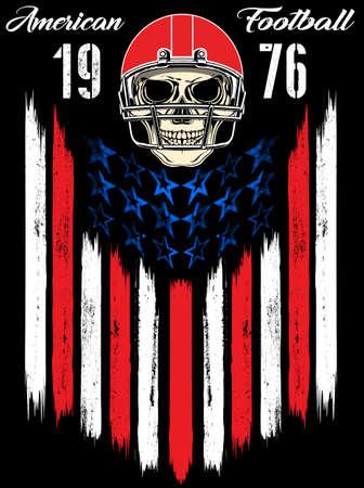 dirty t shirt: Skull in a helmet to play American football Illustration