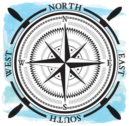 Wind rose, compass icon.