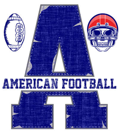 jersey: College vector label and print design for t shirt. American football graphic