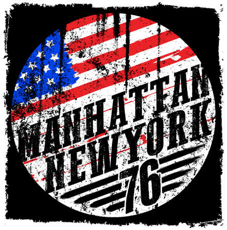 New York City america flag vector print and varsity. For t-shirt or other uses in vector.T shirt graphic Illustration