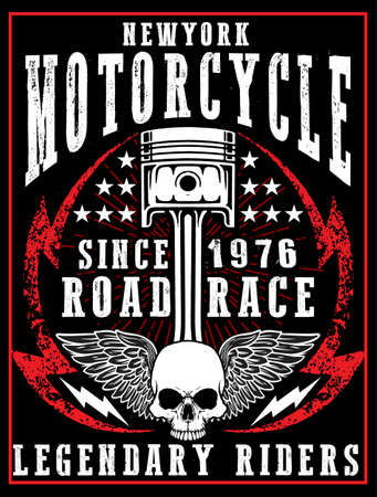 old new york: Motorcycle label t-shirt design with illustration of custom chopper