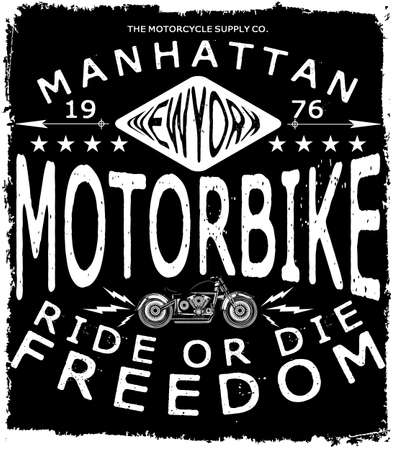 Motorcycle Label T Shirt Design With Illustration Of Custom Chopper