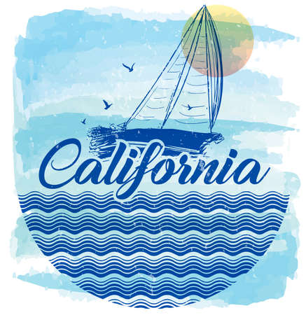 California Laguna Beach summer t shirt graphic design