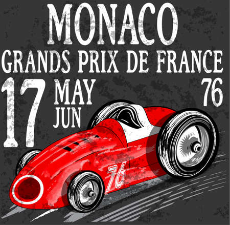 grand prix: Motorcycle label t-shirt design with illustration of custom chopper