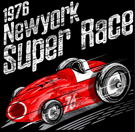 American Car Race Vintage Classic Retro man T shirt Graphic Design