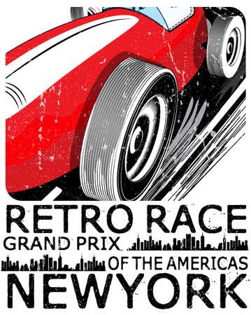 vintage raceauto voor printing.vector oude school race poster.retro raceauto set Stock Illustratie