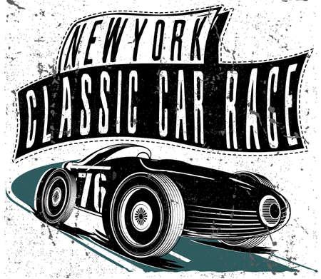 bonne aventure: vintage race car for printing.vector old school race poster.retro race car set