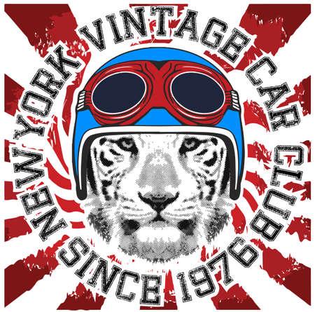 Animal tee vintage graphic design helmet motorcycle logo