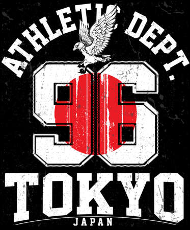 Tokyo Athletic sport typography, t shirt graphics, vectors Illustration