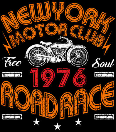old new york: Vintage motorcycle poster t shirt graphic design