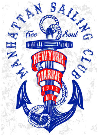 Summer beach anchor vector background in retro style
