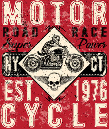 old new york: Motorcycle poster tee graphic design