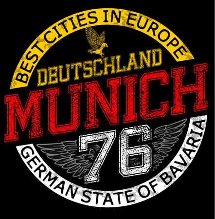 illustration Munich,Germany,stylish graphics design for t-shirts,vintage design,T-shirt Graphics,Munich canvas print,Munich Typography,varsity graphic,T-shirt print