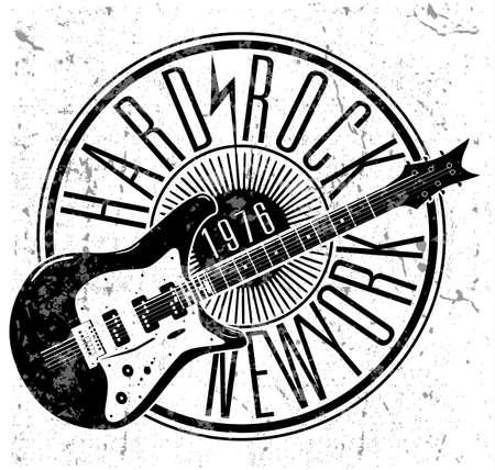 Guitarra eléctrica dibujada mano fresca del grunge con el texto distorsionado en él. Estrella de rock