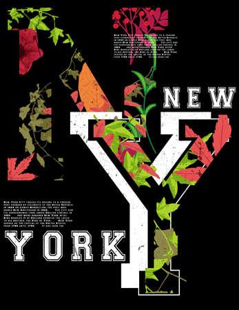 Newyork fashion tee tipografía diseño gráfico