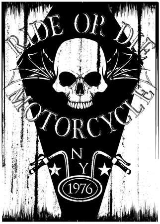 Vintage motorcycle T-shirt graphic design. Illustration