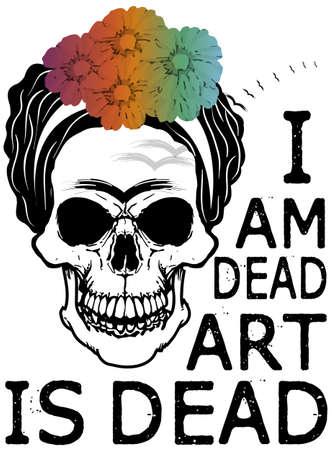Skull Kahlo T shirt Graphic Design
