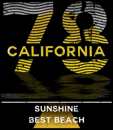 California typography graphics t-shirt printing design for sportswear apparel.