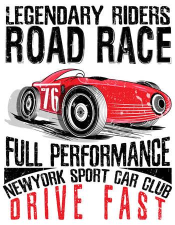 스포츠카 레이스. Printing.vector 자동차 오래 된 학교 경주 포스터입니다.