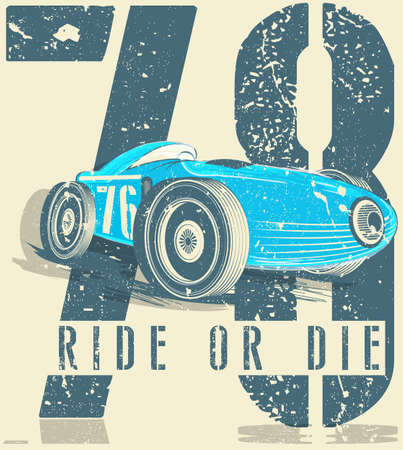 Sports car race. Car for printing.vector old school race poster. Illustration