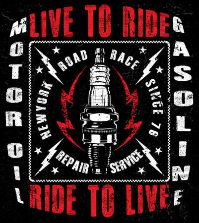 vintage motorcycle labels; badges and design elements Illustration