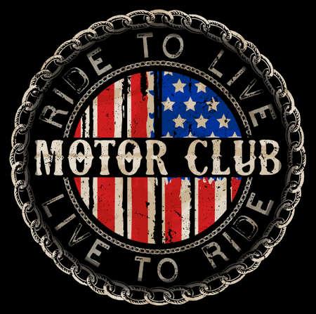 vintage motorcycle labels; badges and design elements Çizim