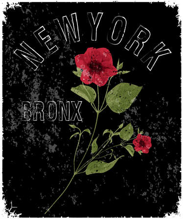 New york typography with floral illustration. Illustration