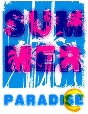 Summer beach in retro style design.