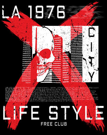 Los Angeles Skull Poster Tee Graphic Design.